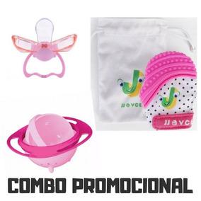 Kit Promoção Bebê Luva Mordedora + Chupeta + Prato Giratório