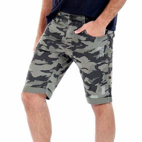 Bermuda Shorts Jeans Camuflado Militar Sawary Masculino