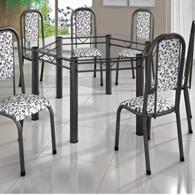 Conjunto Mesa Sextavada Tampo Vidro 6 Cadeiras Madri Dh