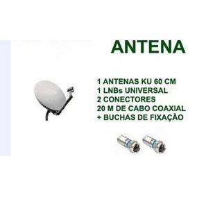 Antena Ku 60 Cm Completa + Lnb Duplo + 20 Mts Cabo