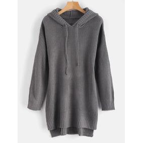 Vestido De Suéter Con Capucha Y Dobladillo Bajo De Color Li