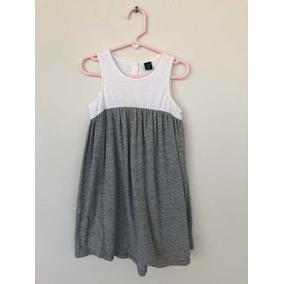 Vestido Marca Gap Para Niña 5 Años Color Blanco Con Gris
