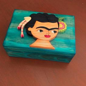 Caja Alhajero Artesanal Frida En Color Azul Turquesa