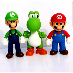 Super Mario, Luigi E Youshi - Kit Com 3 Bonecos