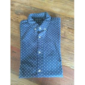 Camisa Zara Azul Marinho Estampada c1456b6b8c4e1