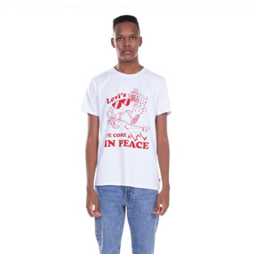 Camiseta Levis Masculino We Come In Peace Branco