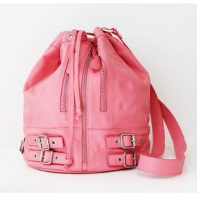 Cartera De Cuero Rosa Marca Olivetta Handbags Como Nueva!!