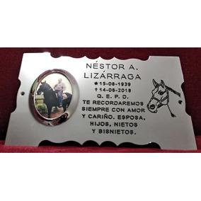 Placa Recordatoria Cementerio 25x15 Caballo Acero Inox