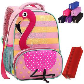4dde4f367 Mochila Escolar Sem Rodinhas Personagens Infantil Estojo Cor · Mochila  Infantil Seanite Menina Modelo Flamingo Moda Estojo