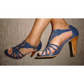 Sandália Azul Escuro Salto Alto Madeira Tiras Usada Prego