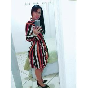 Vestido Listrado Moda Evangelica
