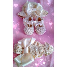 Zapatos Tejidos Con Gorra Y Tiara Para Bebé Con Perlas