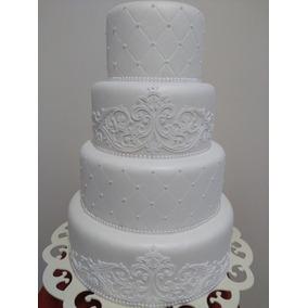 Bolo Fake Casamento Branco Renda Biscuit (decoração)