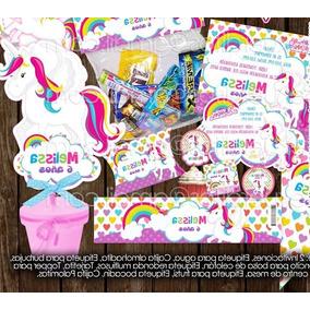 Kit Imprimible Unicornio Bolo Piñata Mesa Dulce Postre Candy