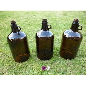 Frasco Botellon Antiguo Damajuana Con Asa 5 Lts Marron Ambar