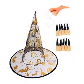 Chapéu De Bruxa Estilo Halloween Negro E Dourado - Festas no Mercado ... 73910d046a7