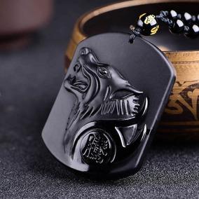 Collar De Obsidiana Lobo Tallado Piedra Natural