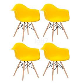 4 X Cadeiras Charles Eames Wood - Daw - Com Braços - Amarelo