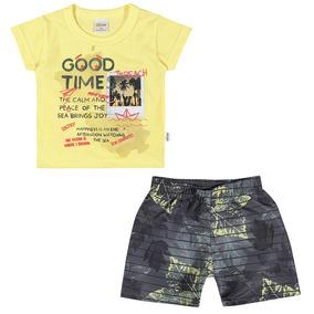 Conjunto Infantil 01 A 03 Anos Elian Camiseta E Bermuda The