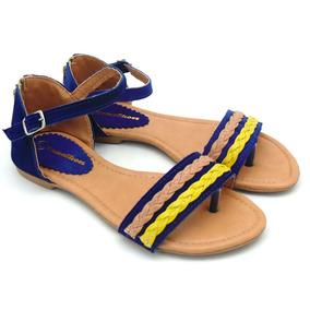 Sandália Rasteirinha De Dedo Feminina Azul E Amarela