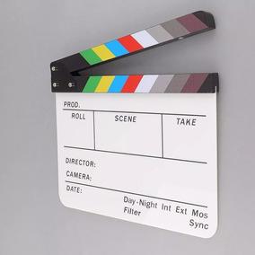 Claquete Cinema Profissional Branca Com Imã 30*25 Cm