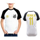 Camiseta Infantil Santos Neymar Jr Personalizada Raglan 50bfd5445e263
