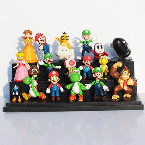 Kit Bonecos Super Mario Bros 18 Miniaturas Pronta Entrega