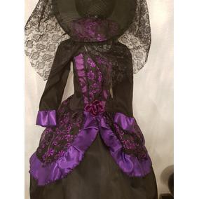 Disfraz Catrina Muerte Dama Alta Costura + Sombrero + Envio 92604cbc22b