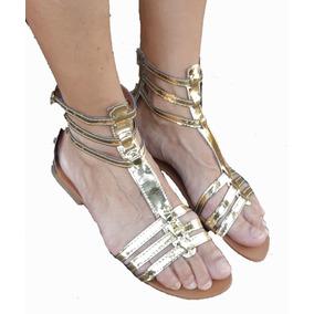 de1b59c562 Sandalias Gladiadoras Romanas Rasteiras - Sapatos Dourado no Mercado ...