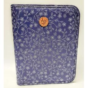Fichário A4 Feminino Universitário Zíper Bolso Azul Flores