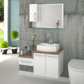 Gabinete Armário P/banheiro C/cuba Rt41+espelheira Legno 830