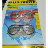 Par De Goggles Mascaras De Natacion Us Divers (rosa Y Negro)
