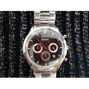 Relógio Original Fossil Prata E Vermelho Rubi.aço Inoxidável