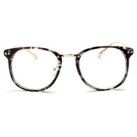 Armação Em Acetato Preto Óculos P  Grau Redondo Retrô - Óculos no ... cde19fe24f