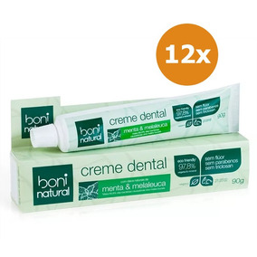 Kit 12 Creme Dental Menta E Melaleuca 90g - Boni Natural