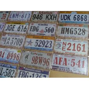 Coleção 18 Placas Carro Metal Em Alusão Estados Americanos