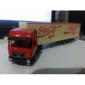 Man Caminhão Carreta Bau Escala 1/87 Herpa Coca Cola Ligth