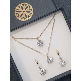 Juego De Cadena Doble Piedra Diamante Baños De Oro Y Aretes