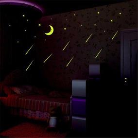 5683cd59f Adesivo Estrelas Teto Brilha Parede Cometas Lua Quarto