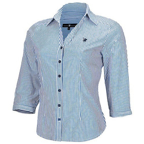 Camisa Polo Club Bl03 Color Azul-blanco Dama Oi