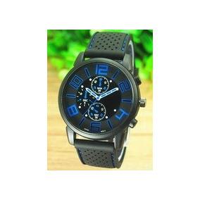 Relógio Masculino Analógico Silicone Emborrachado Preto/azul