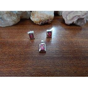 Coordinado De Aretes Y Dije Con Piedra Rectangulares Rosa