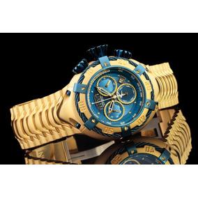 Relogio Bolt Zeus Dourado Azul Na Caixa Top!!