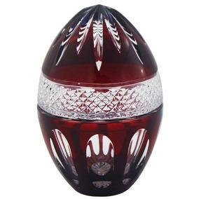 Bomboniere Ovo Em Cristal Vermelho Lapidado Alta Decoração