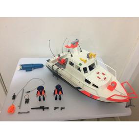 Playmobil 4448 Coast Guard Boat Barco Guarda Costeira Comple