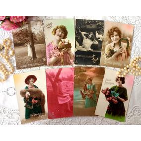 8 Cartões Postais Antigos França E Alemanha Damas