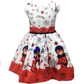 Vestido Infantil Festa Criança Ladybug Temático Luxo