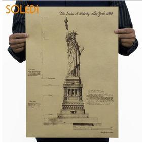 Poster Quadro Cartaz Retro Vintange Estatua Da Liberdade