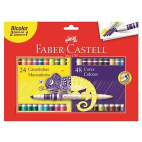 Canetinhas Hidrocor 48 Cores Faber Bicolor