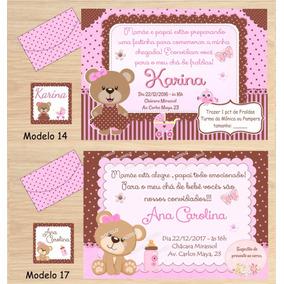 64 Convites Menina Chá Bebê/chá Fraldas